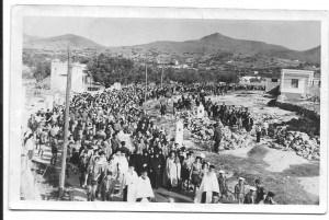 λιτανεία στην Αίγινα για την ανομβρία-δεκαετία του 60, στη Φανερωμένης
